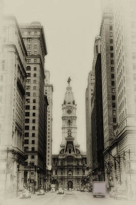 William Penn Digital Art - Philadelphia City Hall From South Broad Street by Bill Cannon
