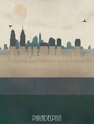 Colourfull Painting - Philadelphia City Skyline by Bri B