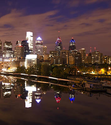 Philadelphia Cityscape Reflection Print by Bill Cannon