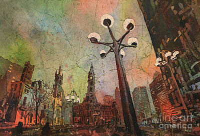 Philly Painting - Philadelphia Downtown Sunrise by Ryan Fox
