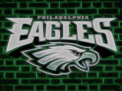 Mascots Mixed Media - Philadelphia Eagles Electric Sign by Dan Sproul