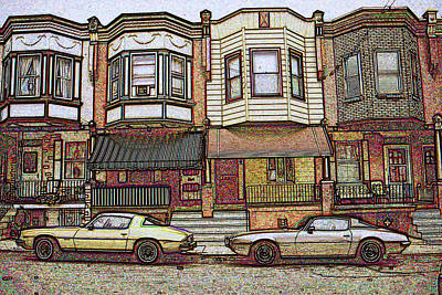 Philadelphia Homes - Color Pencil Print by Art America Online Gallery