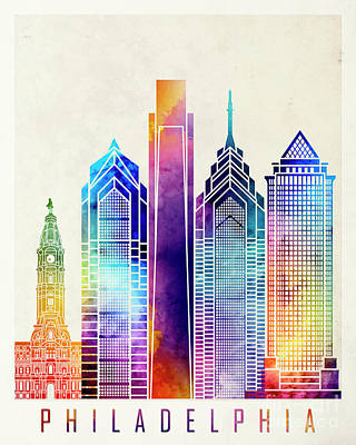 Philadelphia Skyline Painting - Philadelphia Landmarks Watercolor Poster by Pablo Romero