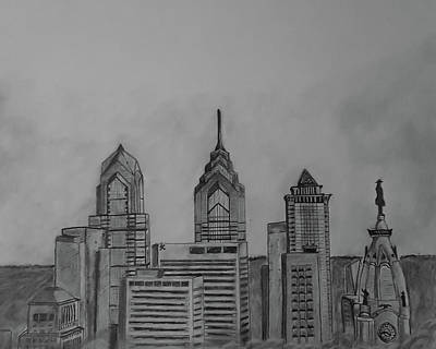 Phillies Drawing - Philadelphia, Pa by John Chattley