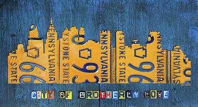 Philadelphia Mixed Media - Philadelphia Pennsylvania Skyline License Plate Art Edition 2016 by Design Turnpike