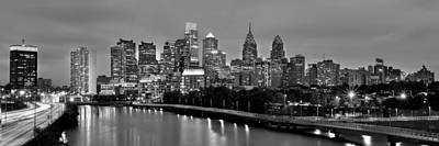 Philly Skyline Photograph - Philadelphia Philly Skyline At Dusk From Near South Bw Black And White Panorama by Jon Holiday