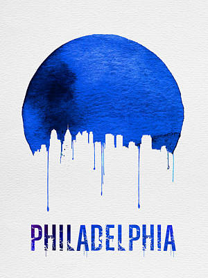Philadelphia Skyline Painting - Philadelphia Skyline Blue by Naxart Studio