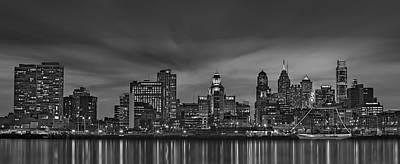Philadelphia Skyline Photograph - Philadelphia Skyline Panorama Bw by Susan Candelario