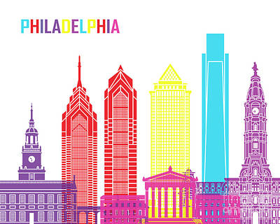 Philadelphia Skyline Painting - Philadelphia Skyline Pop by Pablo Romero
