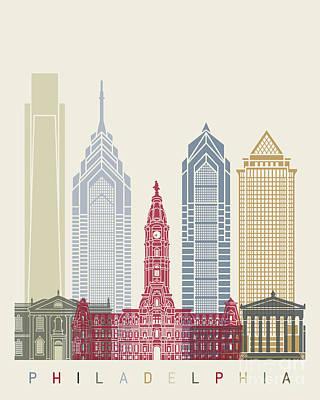 Philadelphia Skyline Painting - Philadelphia Skyline Poster by Pablo Romero