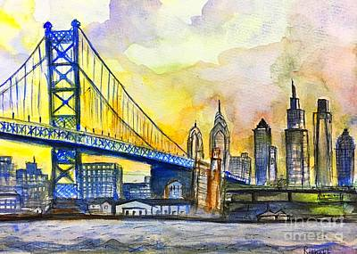 Philadelphia Skyline Painting - Philadelphia Skyline by Rishabh Ranjan