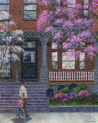 Daughters Painting - Philadelphia Street In Spring by Susan Savad