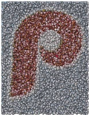 Philidelphia Phillies Baseballs Mosaic Print by Paul Van Scott
