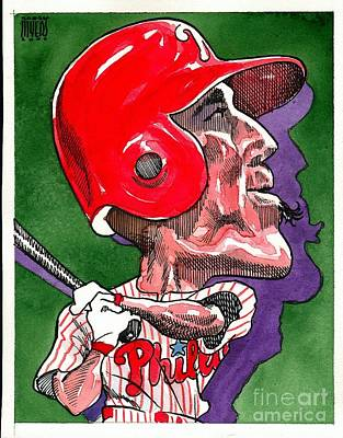 Phillies Drawing - Phillies' Greg Dobbs by Robert  Myers