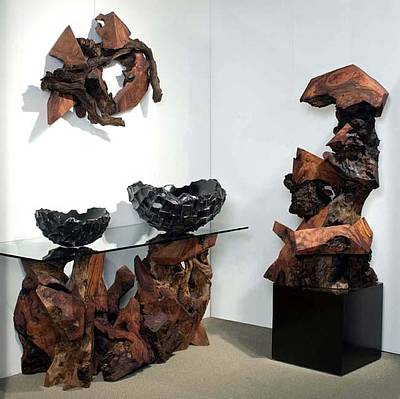 Abstract Sculpture - Phillips Collection - Las Vegas World Market Redwood Sculptures Gallery Display by Daryl Stokes