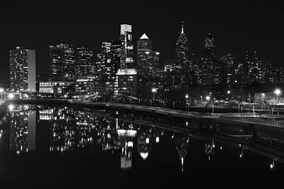 Philadelphia Skyline Photograph - Philly And The Schuylkill Bw by Jennifer Ancker