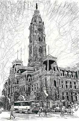 Philadelphia Drawing - Philly City Hall by Michael  Volpicelli