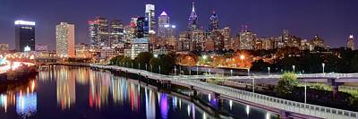 Philly In Panoramic View Print by Frozen in Time Fine Art Photography