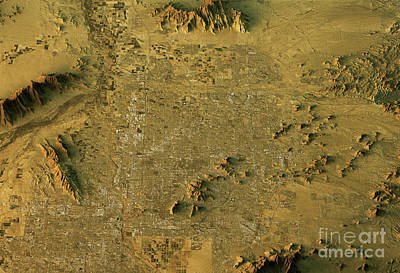Phoenix 3d Landscape View East-west Natural Color Print by Frank Ramspott