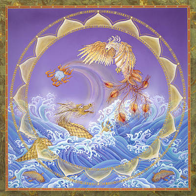 Tantra Painting - Phoenix And Dragon by Nadean O'Brien