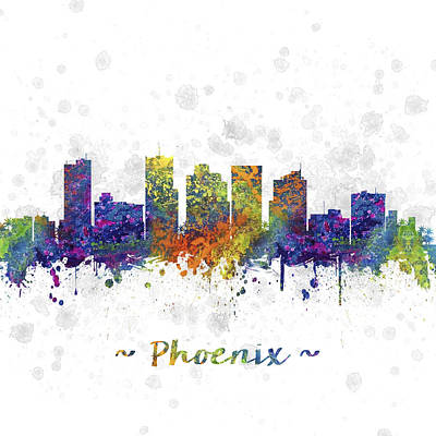 Phoenix Drawing - Phoenix Arizona Skyline Color 03sq by Aged Pixel
