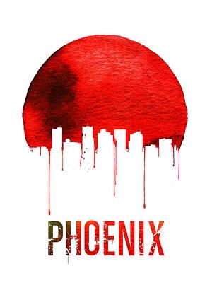 Phoenix Digital Art - Phoenix Skyline Red by Naxart Studio