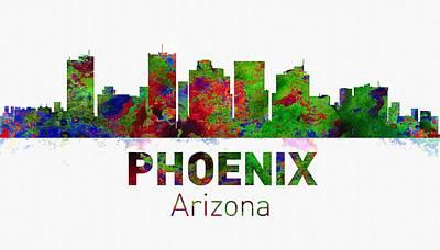 Boston Digital Art - Phoenix Skyline - Usa City by Michael Vicin