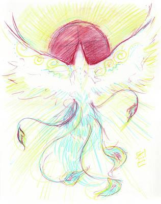 Visionary Art Drawing - Phoenix Sun by Brandy Woods