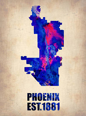 Phoenix Painting - Phoenix Watercolor Map by Naxart Studio