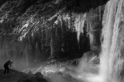 Photographer At Vernal Falls Print by Ralph Vazquez
