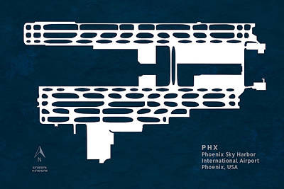 Pilot Digital Art - Phx Phoenix Sky Harbour International Airport Silhouette In Blue by Jurq Studio