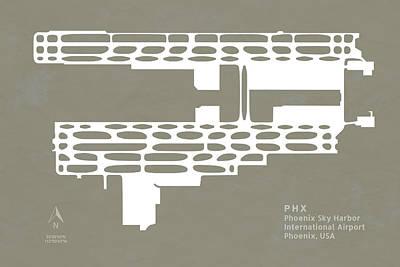 Runway Digital Art - Phx Phoenix Sky Harbour International Airport Silhouette In Gray by Jurq Studio