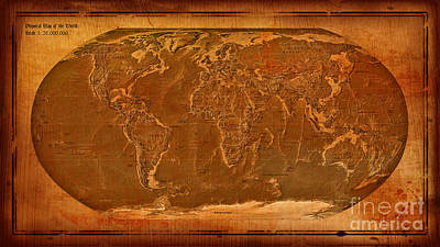 Physical Map Of The World Antique Style Print by Theodora Brown