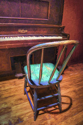 Piano And Chair - Vintage Print by Nikolyn McDonald