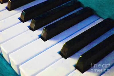 Piano Keys . V2 . Blue Print by Wingsdomain Art and Photography