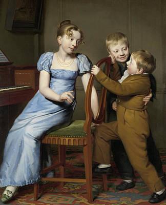 Silk Painting - Piano Practice Interrupted by Willem Bartel van der Kooi