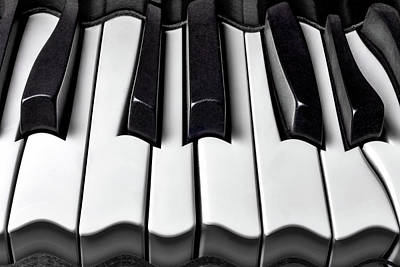 Keyboards Photograph - Piano Wave Black And White by Garry Gay