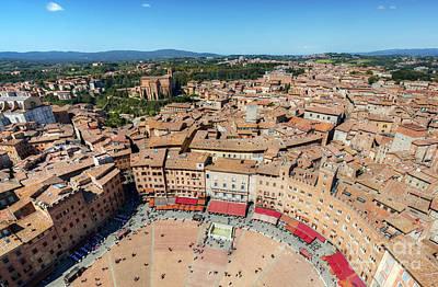 Santa Photograph - Piazza Del Campo, Campo Square In Siena, Tuscany, Italy by Michal Bednarek