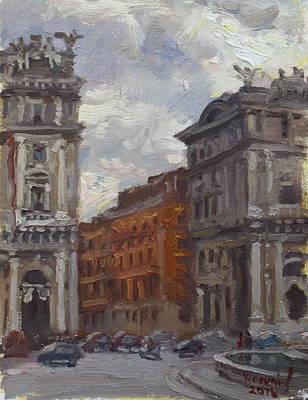 Piazza Painting - Piazza Della Repubblica Rome by Ylli Haruni