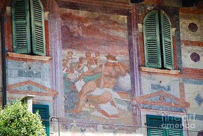 Roman Photograph - Piazza Delle Erbe Renaissance Frescoes - Verona Italy by Just Eclectic