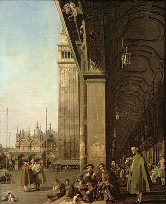 Campanile Painting - Piazza Di San Marco And The Colonnade Of The Procuratie Nuove by Canaletto
