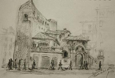 Piazza Drawing - Piazza Fiume Rome by Ylli Haruni