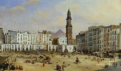 Italian Street Painting - Piazza Mazaniello In Naples by Jean Auguste Bard