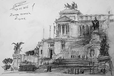 Piazza Drawing - Piazza Venezia Rome by Ylli Haruni