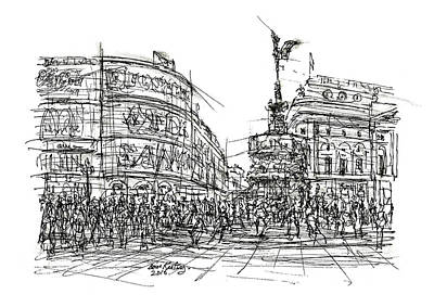 London Skyline Drawing - Piccadilly Circus London by Brian Keating