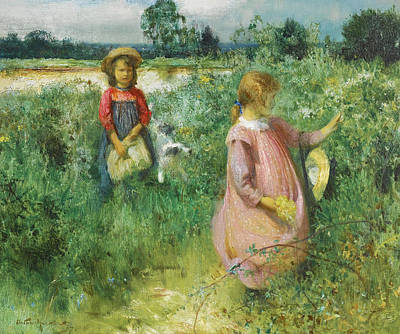Arthur Hacker Painting - Picking Wildflowers by Arthur Hacker
