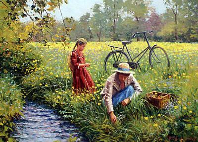 Picking Yellow Flowers Original by Roelof Rossouw