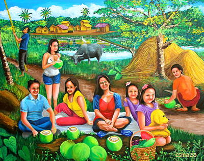 Bamboo House Painting - Picnic At The Farm by Cyril Maza