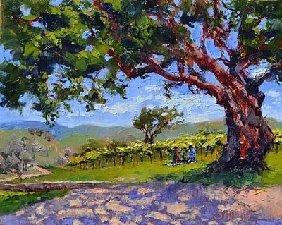 Women Tasting Wine Painting - Picnic In The Vineyard by Lynee Sapere