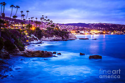 Picture Of Laguna Beach California City At Night Print by Paul Velgos